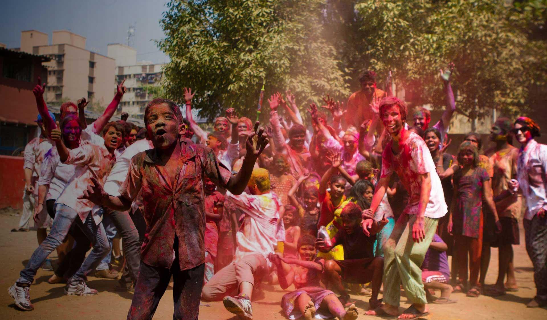 Image result for dharavi slum children holi hd