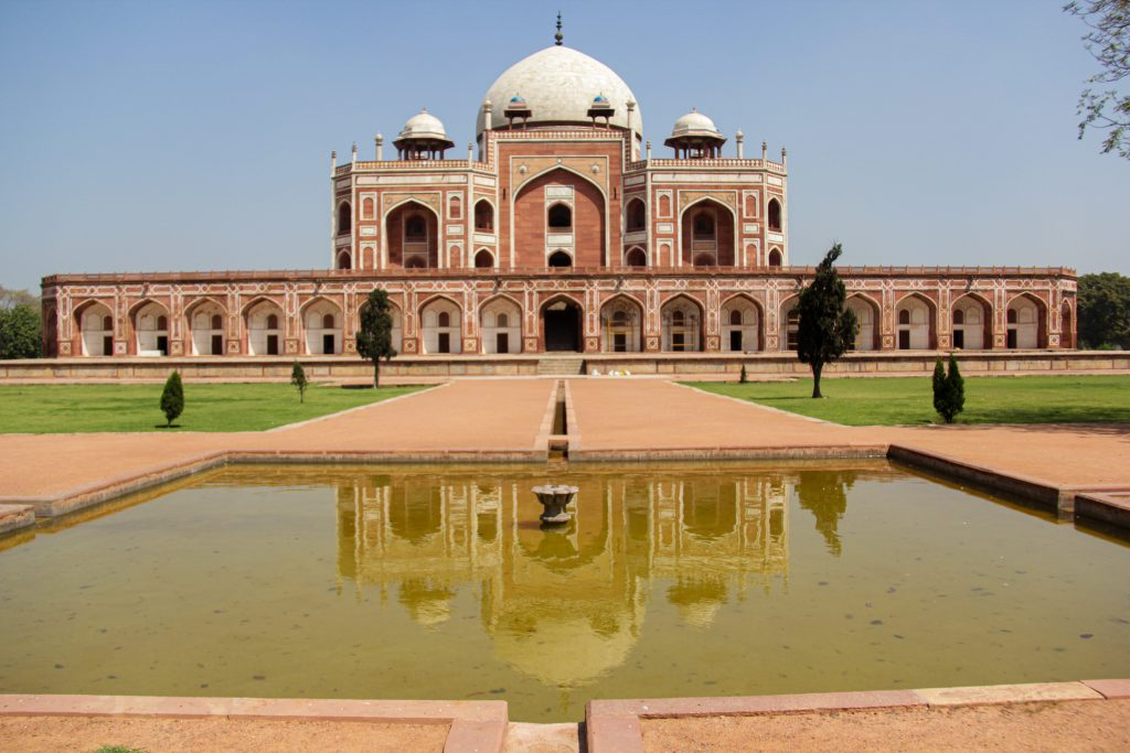 The stunning Humayun's Tomb with fountain reflection